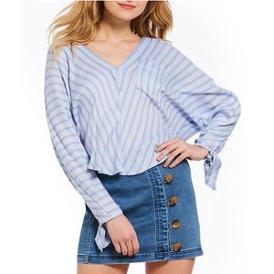 Free People Morning Striped Dolman Blue Tunic Top